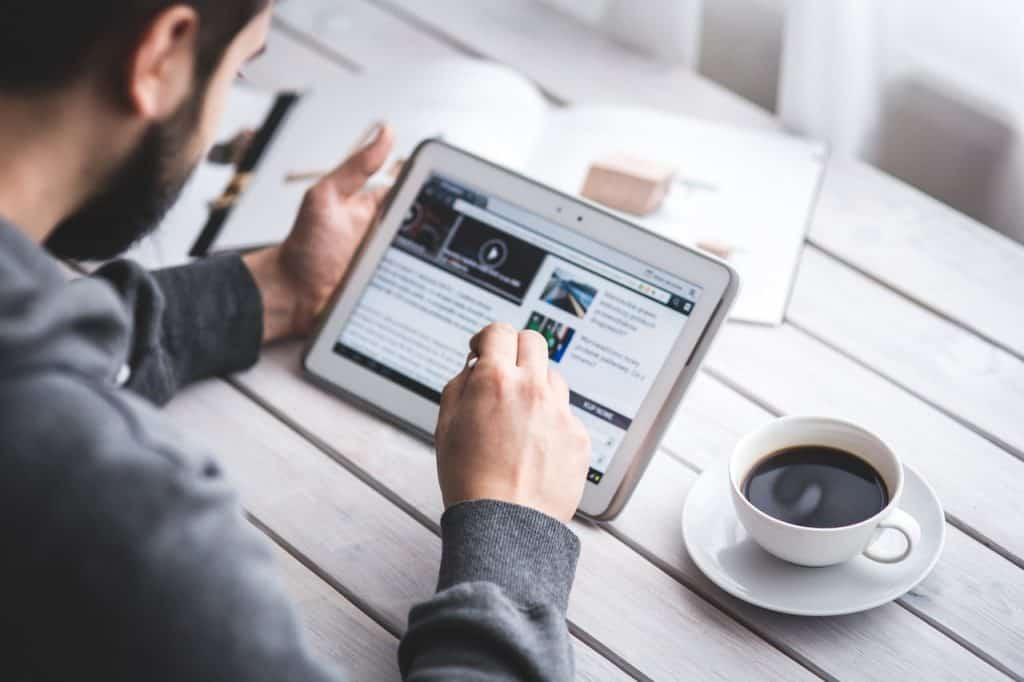 Man reading through updated SEO blog content